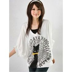 White v-neck cat print t-shirt with drawstring hem detail.