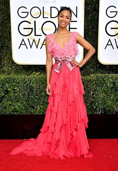 super chic two tone color block ruffled chiffon gown,Zoe Saldana at Golden Globes 2017 Red Carpet Awards Arrivals prom formal evening dresses.prom dresses,formal dresses,ball gown,homecoming dresses,party dress,evening dresses,sequin dresses,cocktail dresses,graduation dresses,formal gowns,prom gown,evening gown