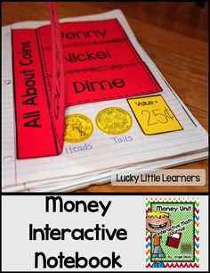 "What's included: *Explanation of Interactive Math Notebooks *Coin Posters  *All About Coins (coin identification, value, heads, & tails) *Ways to Make it (25 cents, 50 cents, 75 cents, and $1.00) *4 Ways to 30 cents (using only quarters, dimes, and nickels) *Variety of Story Problems (including adding coins and making change) *Let's Go Shopping *Over 48 coin clipart cut-outs *""Hairy"" and ""Tap"" Money Explanation *Photos of these interactive math notebook pages"
