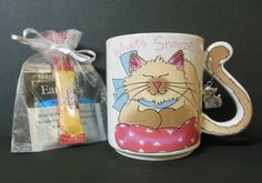 Cat Tail Handle Bow Pillow Earl Grey Tea Folgers Coffee Cat Charm Gift Set Cup Free U.S. Shipping SJG