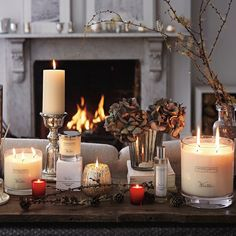 nothing is cosier than a few candles and a log fire after a walk beside the sea