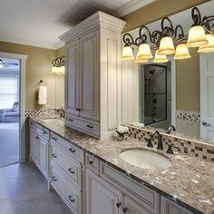 Bathroom Distressed Painted Vanity Design, Pictures, Remodel, Decor and Ideas - page 5 Bathroom Tower, Master Bathroom, Bathroom Marble, Cream Bathroom, Bathroom Gray, Master Shower, Classic Bathroom, Hall Bathroom, Bathroom Lighting