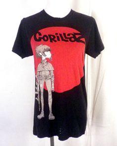 9b332548 vtg 2000's soft thin Gorillaz T-Shirt band rap hip hop punk metal SZ S