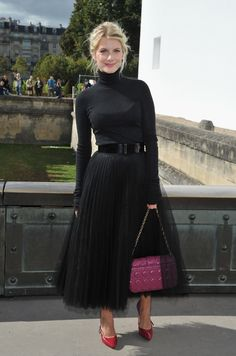 Melanie Laurent?s all-noir ensemble at Dior is ladylike perfection. ♥ Fashion Style