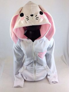 PAWSTAR Bunny Loves You hoodie jacket kawaii valentines heart fairy kei animal face coat cosplay furry race Easter rabbit