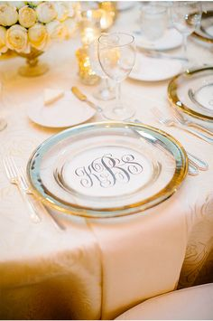 This monogram on the charger is amazing!!! / A Houston Texas Wedding at La Colombe d'Or / Kimberly Chau Photography via StyleUnveiled.com