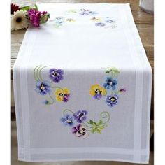 Vervaco Table Runner Stamped Embroidery Kit Pansies Image 1 of 1 Hardanger Embroidery, Vintage Embroidery, Embroidery Stitches, Embroidery Patterns, Hand Embroidery, Machine Embroidery, Cross Stitch Kits, Cross Stitch Designs, Cross Stitch Patterns