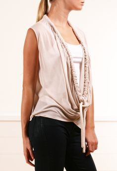 inspiration only: taupe sleeveless blouse