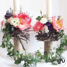 Lumanari cununie scurte bujori lavanda - LC34 Wedding Bouquets, Wedding Flowers, Candels, Wedding Inspiration, Wedding Ideas, Grapevine Wreath, Nasa, Flower Arrangements, Decorative Fireplace