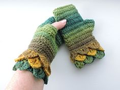 Fingerless Crochet Mitts Wrist Warmers with Dragon Scale Cuffs Crochet Mitts, Fingerless Mitts, Dragon Scale, Wrist Warmers, Double Knitting, Handmade Crafts, Green Colors, Cuffs, Stitch