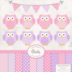 Premium Owl Clipart Vectors & Digital Papers in Fresh Pink and Purple - Spring Owl Clip Art Owl Vectors Pattered Owls Baby Owls #BabyScrapbookIdeas #BabyScrapbook #BabyGirl #DigitalPaper #ScrapbookPaper style1058 nursery art digital papers owl clipart owl clip art vector owls clipart owls baby owls baby animal vectors colorFresh bright pink owls girls owls cute owl clipart 4.99 USD
