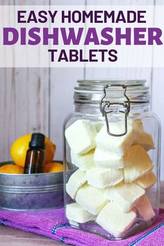 Save money -- and a trip to the store -- by making homemade dishwasher tabs with this easy DIY Dishwasher Tablets tutorial. Homemade Cleaning Supplies, Cleaning Recipes, Cleaning Hacks, Homemade Products, Homemade Soaps, Cleaning Spray, Cleaning Solutions, Deep Cleaning, Spring Cleaning