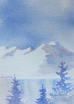 High Lake. watercolor, 5.75 x 8