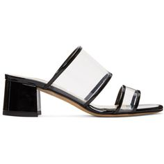 Maryam Nassir Zadeh Black Martina Clear Slide Sandals (3 920 SEK) ❤ liked on Polyvore featuring shoes, sandals, black, black slip on sandals, clear sandals, black slide sandals, black block heel shoes and black patent shoes