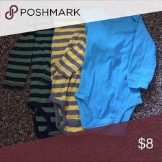Set of 3 long sleeve onesies Carter's onesies, in great condition! Shirts & Tops Tees - Long Sleeve