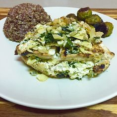 Spinach Artichoke Stuffed Chicken with Roasted Brussels Sprouts  Eat Primp Love