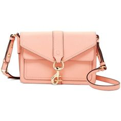 Rebecca Minkoff Hudson Moto Mini Leather Crossbody Bag ($130) ❤ liked on Polyvore featuring bags, handbags, shoulder bags, dk peach, rebecca minkoff crossbody, mini crossbody purse, mini shoulder bag, red shoulder bag and leather cross body purse