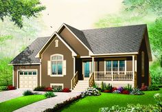 Bungalow Homes, Bungalow House Plans, House Floor Plans, Plan Garage, Garage Ideas, Barn House Design, Drummond House Plans, Country Style House Plans, Pole Barn Homes