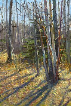 """Evening Birch"" Jeffrey T. Larson oil on canvas ~12 x 16 inches ~2009"