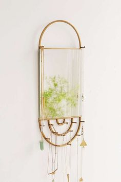 Slide View: 1: Hanging Rectangle Mirror Jewelry Storage