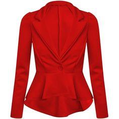 Ditzy Fashion Women's Crop Frill Shift Slim Fit Fitted Peplum Blazer Jacket Coat UK