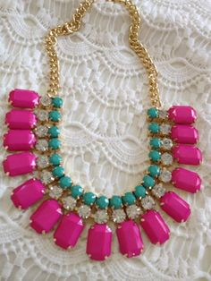 $25.95 @Etsy New Release, Hot Pink, Rhinestone Chunky Gold Chain Statement Bib Necklace