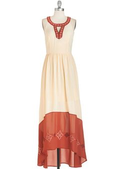 Way to Glow Dress - Solid, Cutout, Daytime Party, Boho, Festival, Maxi, Sleeveless, Woven, Better, Long, Cream, Orange, Embroidery, Beach/Re...
