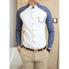 Casual Style Chic Color Block Button Down Collar Long Sleeves Cotton Shirt For Men (BLUE,L) in Shirts | DressLily.com