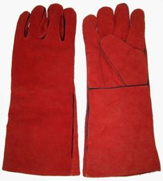 Red-Leather-Lined-Welders-Welding-Heat-Resistant-Gauntlets-Gloves-FREE-POST
