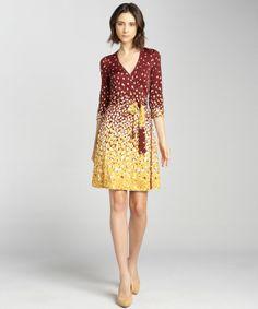 JB by Julie Brown : oxblood monet printed jersey knit wrap dress : style # 326378201