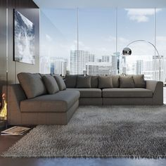 Moore Living Reversible Sectional By Wade Logan Living Room Sectional, Cozy Living Rooms, Living Room Modern, Living Room Designs, Sectional Sofas, Couches, Sofa Furniture, Living Room Furniture, Living Room Decor