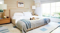 natural neutral bedroom with perfect blue textiles // maggie kayne