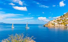 Download wallpapers Khydra Island, 4k, sea, Saronic Gulf, summer, Greece, Europe