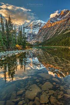 ***Reflection of Mount Edith Cavell on a calm morning (Jasper National Park, Alberta) by Pierre Leclerc
