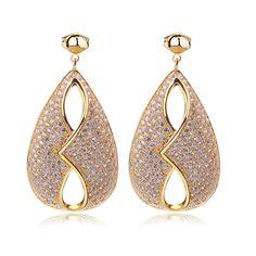 Unique Top Quality Cubic Zirconia Women Drop Earring 340 pcs CZ Micro Pave Setting Bridal Wedding Jewelry Brass Lead Free 18 KGP