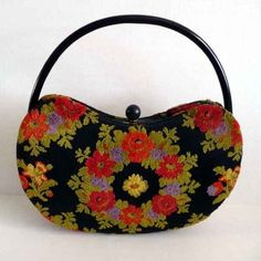1960s purse / Highly Sought After Rare Vintage Holzman 60s Kidney Shaped Carpet Bag