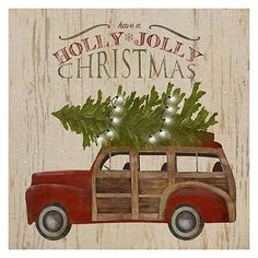 Our Holly Jolly Truck with Tree Canvas Art Print is loading up the station wagon and driving right into your decor! You'll find it perfect for the holidays. Indoor Christmas Decorations, Christmas Signs, Outdoor Christmas, Christmas Art, Tree Decorations, Vintage Christmas, Christmas Wreaths, Christmas Ornaments, Christmas Ideas