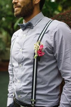 Groom in suspenders and bow tie | BlueSpark Photography | see more on: http://burnettsboards.com/2014/04/bohemian-villa-inspiration-shoot/
