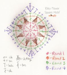 Hand-drawn chart for the Riley Flower Square Motif - photos and written instructions on mooglyblog.com