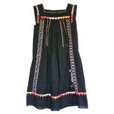 Robe ethnique brodée. TSUMORI CHISATO Noir en Coton Printemps / Eté - 316669