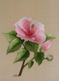 Hibiscus :: cithare Peinture à l'aiguille aux fils de soie Création et réalisation : Christiane Plamondon Hallé