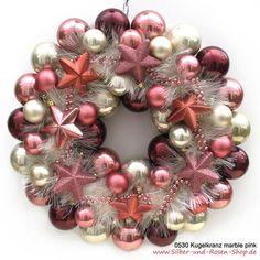 Türkranz Weihnachten Kugeln marble pink groß