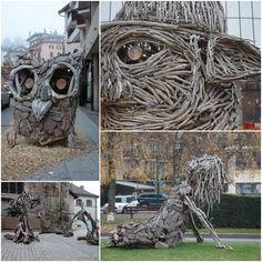 Les Flottins à Evian les Bains - Le Blog de Clo Evian Les Bains, Street Art, Blog, Sculptures, Spectacle, Texture, Crafts, Lake Geneva, Drift Wood