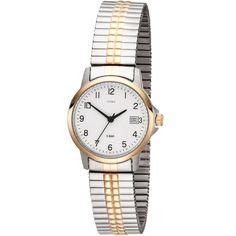 JOBO Damen Armbanduhr Quarz Analog Edelstahl bicolor vergoldet Flexband Datum