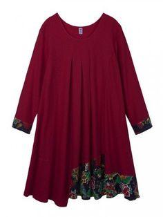Ethnische Leinen Patchwork A-Line Langarm Kleid