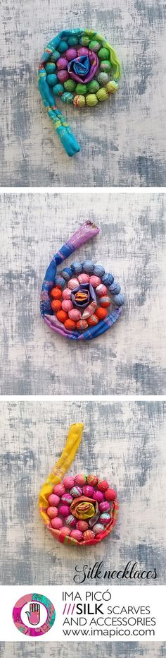 Fabric jewellery. Summer textile necklaces made of printed silk with colourful patterns, Silk jewellery by Ima Picó.