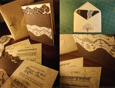 This is a custom wedding invitation I designed and hand-made 130 of. It features a die-cut wood embossed card stock embellished with a rhinestoned antique lace faux-wrap that arrives in an off-white envelope stamped with a brown tree to tie in an antique enchanted forest theme that the client wanted.