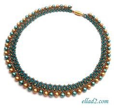 Make this gorgeous necklace! Both sides of the necklace are beautiful and you can wear it on the both sides. You can play with colors of beads and pearls. Instead of pearls you can use briollete, dagger beads...for example. Easy and relatively quick to make. Necklace is 46,5 cm/18.3 long without the clasp.  Beading tutorial is very detailed with photos of each step.  Material you need:  - Seed beads size 8/0, 11/0 - Miyuki drop beads/fridge 3.4mm - Pearls 6mm - two colors ...