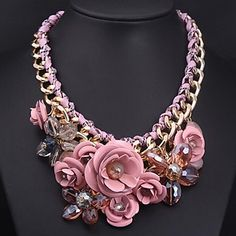 Women's European and American Luxury Pink Flowers Gemstone Necklace – CAD $ 26.67