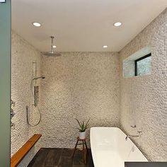 bathrooms - pebble, tiles, shower, surround, rain, shower head, zen bathroom,